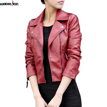 2017 New Women Leather Jackets Vintage Fashion Female Rivet Winter Motorcycle Brand Coat Outwear Spring Casual jacket