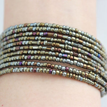 Shimmer mystique tone with onyx beads coiled bracelet, coiled bracelet, beaded bracelet, beaded bangle, tribal bangle, free size bracelet