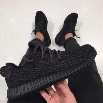 "Fashion ""Adidas"" Yeezy Boost Solid color Leisure Sports shoes Black"