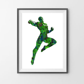 Green Lantern Watercolor Print, DC Comics SuperHero Poster, Wall Art, Not Framed, Buy 2 Get 1 Free!