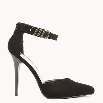 Pointed Toe Ankle Strap Pumps in Black