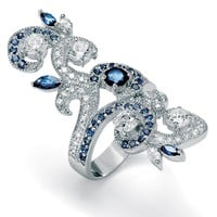 Marquise-Cut Sapphire-Color Glass Round Cubic Zirconia Pave Silvertone Swirl Ring