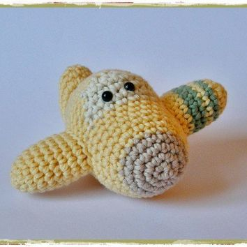Organic cotton plane baby toy rattle by ByMarika on Etsy