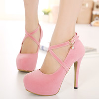 2016 European Sexy Ladies ultra high heels platform thin heels shallow mouth round toe Women Party Shoes High Heels