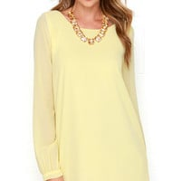 Spinning Sunshine Yellow Long Sleeve Shift Dress