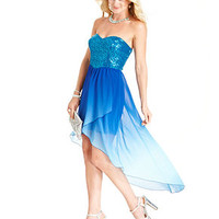 Speechless Juniors Dress, Strapless Sequin Ombre-Print High-Low - Juniors Dresses - Macy's