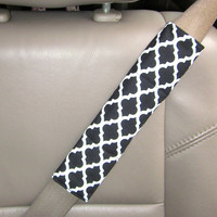 Seat Belt Strap Cover-  Black with White Quatrefoil with Reversible Soft Black Minky.