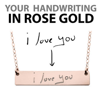 Custom Handwriting Necklace Rose Gold Name Plate Necklace