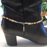 Southwestern Style Boot Anklet Choker Beaded Beads & Wood Beads/ Silver Tone Feather Dangle/Native American Inspired Beaded Beads