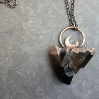 Smoky Quartz Cluster Crescent Moon Necklace