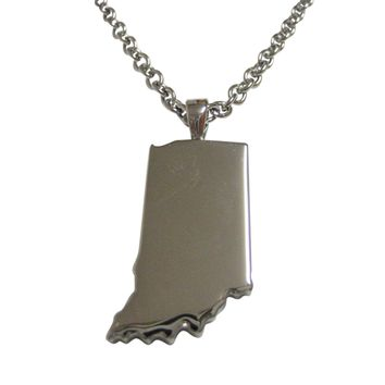 Indiana State Map Shape Pendant Necklace