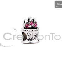SALE Charm for any Pandora bracelet Birthday Cake shaped bead, HAPPY and hearts stamped