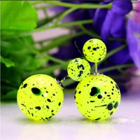Mise en Style Tribal Double Bead Earrings - Neon Graffiti Yellow
