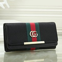 Gucci Women Leather Zipper Shopping Wallet Purse