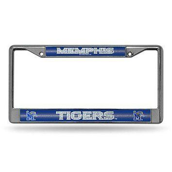 Memphis Tigers NCAA Glitter Bling Chrome License Plate Frame Car Truck Wall