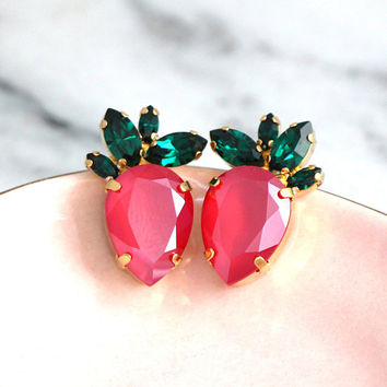 Strawberry Earrings, Strawberry Jewelry, Red Green Earrings, Gift For Her, Fruit Earrings, Pinup Girl Jewelry, Ruby Red Swarovski Earrings