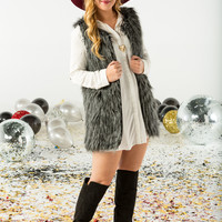 Long length mixed faux fur vest