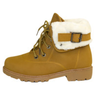 Lace-Up Foldover Hiking Lug Tan Boots