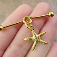 Gold Starfish Cartilage Piercing Industrial Barbell Upper Ear Piercing Sea Star