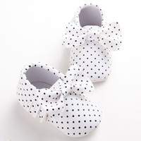 Newborn Baby Crib Girls Princess Prewalkers PU Leather Polka Dots Soft Soled Bow Moccasins Soft Moccs First Walkers Shoes 0-1 T