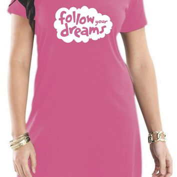 Personalized Sleep Tunic Style Long Shirt, Follow Your Dreams Ladies V-Neck Sleep Shirts
