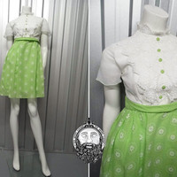 Vintage 60s Dollybird A line Dress Lime Green High Neck Frilly Blouse Mini Mod Dress Contrast Buttons Embroidered Short Sleeve Soft Pleats