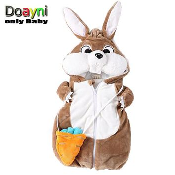 Doayni Baby 2018 Winter Velour Vest For Baby Novelty Rabbit Hooded Thick Warm Plus Cotton Clothing Infant Unisex Carrots bags