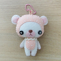 White Bear Felt Keychain -  cute accessories -  Kawaii - Spring Bear plush - READY TO SHIP
