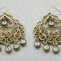 Jessica Gold Antiqued Crystal Drop Earrings