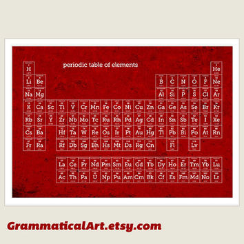Periodic Table of Elements Print - Modern Red Retro Poster