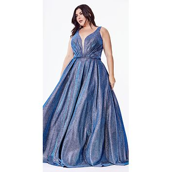 Plus Size Glittered Ball Gown with Deep Plunge Neckline and Pockets