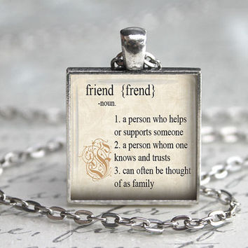Friend Definition, Gift for Friend, Dictionary Pendant, Friendship Necklace, Dictionary Necklace, Friendship Jewelry, Best Friends