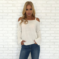 Ribbons & Bows Ivory Knit Sweater Top