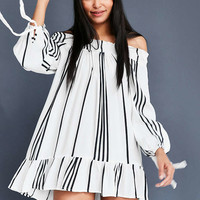 Faithfull The Brand Striped Off-The-Shoulder Mini Dress - Urban Outfitters