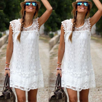2016 Women Sleeveless White Lace Dress Sexy Boho Short Mini Dresses Ladies Summer Beach Party Sundress Size 6-16
