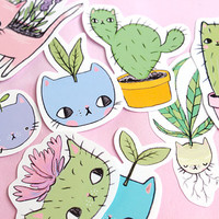 Plant Kitty Stickers