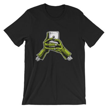 Zombie Hands Holding Phone Short-Sleeve Unisex T-Shirt