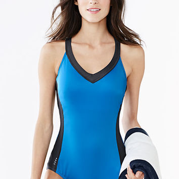 Women's AquaSport V-neck One Piece Swimsuit from Lands' End