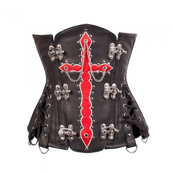 Gothic / Steampunk Corset with Red Cross and Metallic Chain