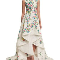 Monique Lhuillier Sleeveless Floral-Embroidered High-Low Gown, White