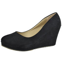 Womens Platform Shoes Slip On Suede Casual Dress Wedges Black SZ