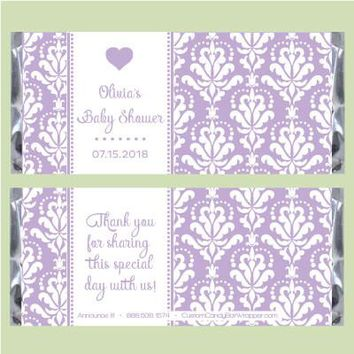 Baby Shower Damask Candy Bar Wrappers