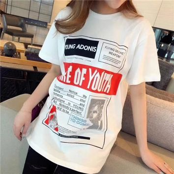 """Loewe"" Women Loose Casual Letter Pattern Print Short Sleeve T-shirt Top Tee"
