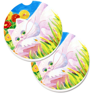 White Cat Set of 2 Cup Holder Car Coasters 6102CARC