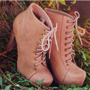 Layla Suede Booties - Natural