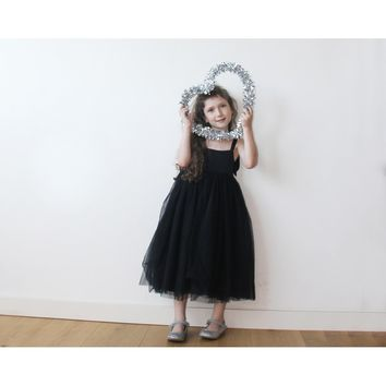Black tulle flower girl dress 5004