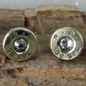 Crystal Bullet  Earrings  April Birthstone  Ultra by ShellsNStuff