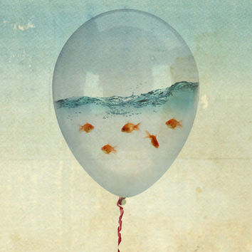 balloon fish Art Print by Vin Zzep