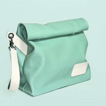 "High Quality Handmade Italian Leather Bag ""Chandler Mojito"" / Mint Handbag / Mint Lunch Bag / Mint Clutch / Small Leather Bag"