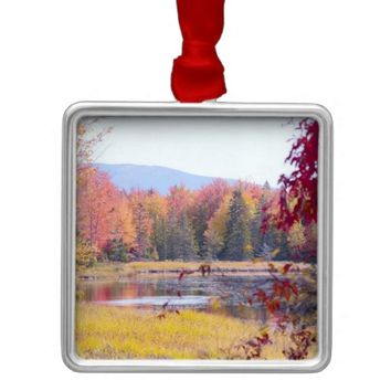 Autumn Trees with Mountain in Maine Square Metal Christmas Ornament
